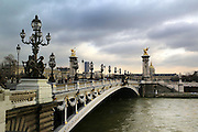 Paris January 29, 2007 -  Alexander III bridge across the seine, Pont Alexandre III is an arch bridge that spans the Seine, connecting the Champs-?lys?es quarter and the Invalides and Eiffel Tower Quarter REPORTERS©Jean-Michel Clajot