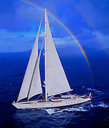 Hyperion, widely considered one of the world's finest sailing yachts, built by the Royal Huisman Shipyard in Vollenhove, Holland. An elevator-like crow's nest can take up to three guests to the third spread, 120 feet above the water.