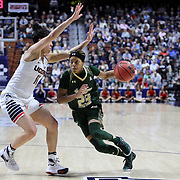Shalethia Stringfield, (right), USF, defended by Kia Nurse, UConn,  during the UConn Huskies Vs USF Bulls 2016 American Athletic Conference Championships Final. Mohegan Sun Arena, Uncasville, Connecticut, USA. 7th March 2016. Photo Tim Clayton