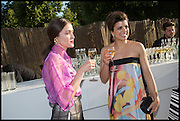 BARBARA CASASOLA; LEILA GREICHE, 2014 Serpentine's summer party sponsored by Brioni.with a pavilion designed this year by Chilean architect Smiljan Radic  Kensington Gdns. London. 1July 2014