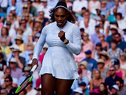 LONDON, ENGLAND - Tuesday, July 10, 2018: Serena Williams (USA) celebrates after her 3-6, 6-3, 6-4 victory during the Ladies' Singles Quarter-Final match on day eight of the Wimbledon Lawn Tennis Championships at the All England Lawn Tennis and Croquet Club. (Pic by Kirsten Holst/Propaganda)