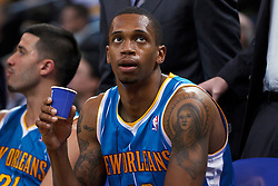 Mar 28, 2012; Oakland, CA, USA; New Orleans Hornets forward Lance Thomas (42) sits on the bench against the Golden State Warriors during the second quarter at Oracle Arena. New Orleans defeated Golden State 102-87. Mandatory Credit: Jason O. Watson-US PRESSWIRE
