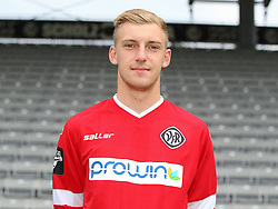 14.07.2015, Scholz Arena, Aalen, GER, 2. FBL, VfR Aalen, Fototermin, im Bild Marcel Knauss ( VfR Aalen ) // during the official Team and Portrait Photoshoot of German 2nd Bundesliga Club VfR Aalen at the Scholz Arena in Aalen, Germany on 2015/07/14. EXPA Pictures © 2015, PhotoCredit: EXPA/ Eibner-Pressefoto/ Langer<br /> <br /> *****ATTENTION - OUT of GER*****