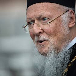 His All Holiness Patriarch Bartholemew, known affectionately as the Green Patriarch, during the Green Attica Symposium in Athens and the Saronic Islands, Greece.