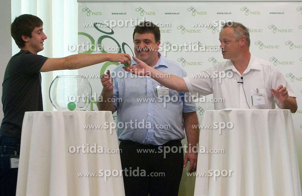 Andraz Sporar, Boris Kriselj of NZS and Sandi Kranjec of NZS at 2nd League draw before new football season 2011/2012 in Slovenia, on June 23, 2011, in Hotel Kokra, Brdo pri Kranju, Slovenia. (Photo by Vid Ponikvar / Sportida)