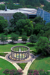 Stock photo of the aerial view of the Mecom Rockwell Colonnade and Fountain across from the Houston Museum of Natural Science