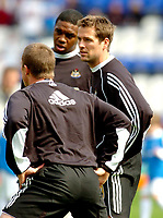 Photo: Leigh Quinnell.<br /> Birmingham City v Newcastle United. The Barclays Premiership. 29/04/2006. Michael Owen warms up with his Newcastle team mates.