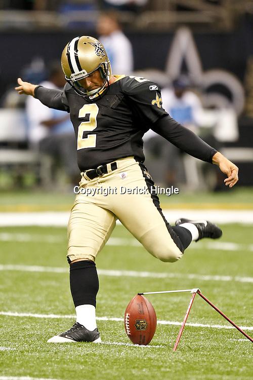 September 1, 2011; New Orleans, LA, USA; New Orleans Saints kicker John Kasay (2) during a preseason game at the Louisiana Superdome. Mandatory Credit: Derick E. Hingle