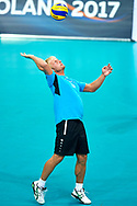 Katowice, Poland - 2017 September 02: Partner Jan Alexander from SO Czech Republic serves the ball while SO Finland versus SO Czech Republic during European Unified Volleyball Tournament 2017 at Spodek Hall on September 02, 2017 in Katowice, Poland.<br /> <br /> Adam Nurkiewicz declares that he has no rights to the image of people at the photographs of his authorship.<br /> <br /> Picture also available in RAW (NEF) or TIFF format on special request.<br /> <br /> Any editorial, commercial or promotional use requires written permission from the author of image.<br /> <br /> Image can be used in the press when the method of use and the signature does not hurt people on the picture.<br /> <br /> Mandatory credit:<br /> Photo by © Adam Nurkiewicz / Mediasport
