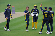 Liam Dawson & Hampshire Celebrate the wicket of Tom Helm during the Royal London One Day Cup match between Hampshire County Cricket Club and Middlesex County Cricket Club at the Ageas Bowl, Southampton, United Kingdom on 23 April 2019.