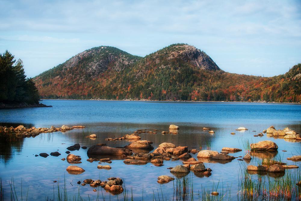 Late autumn afternoon Bubble Rock at Jordon Park, Acadia National Park, Maine