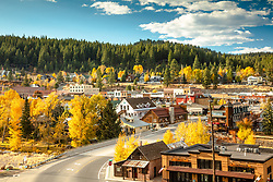 """Downtown Truckee 61"" - Photograph of historic Downtown Truckee shot in Autumn, yellow cottonwood and aspen trees can be seen."