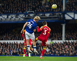 Tom Davies of Everton (L) heads at goal - Mandatory by-line: Jack Phillips/JMP - 23/11/2019 - FOOTBALL - Goodison Park - Liverpool, England - Everton v Norwich City - English Premier League