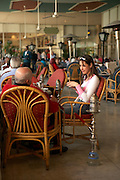 People with hookahs at a cafe in Cairo, Egypt