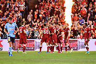 May 24, 2017: Liverpool celebrate their goal at the soccer match, between English Premiere League team Liverpool FC and Sydney FC, played at ANZ Stadium in Sydney, NSW Australia.