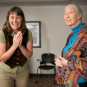Leah Lamb, a videographer for the International Women's Earth and Climate Summit, shows her joy at meeting her lifelong idol, Dr. Jane Goodall. Leaders from 35+ countries gathered for the drafting of a Women's Climate Action Agenda in Suffern, New York September 20-23rd, 2013 as part of the International Women's Earth and Climate Summit.  For a full list of Summit delegates and an agenda visit www.iweci.org. Photo by Lori Waselchuk/Magazines OUT