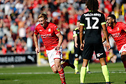 Swindon Town forward Eoin Doyle celebrates a goal during the EFL Sky Bet League 2 match between Swindon Town and Macclesfield Town at the County Ground, Swindon, England on 14 September 2019.