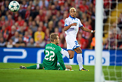 LIVERPOOL, ENGLAND - Wednesday, August 23, 2017: TSG 1899 Hoffenheim's Serge Gnabry misses a chance during the UEFA Champions League Play-Off 2nd Leg match between Liverpool and TSG 1899 Hoffenheim at Anfield. (Pic by David Rawcliffe/Propaganda)