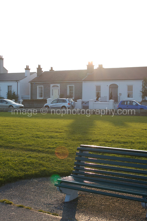 Park bench at Sandymount Strand in Dublin Ireland on a winters evening
