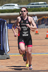 Lucy Hall of Great Britain leads Jessica Learmonth of Great Britain during the run leg of the Elite Womens race of the Discovery Triathlon World Cup Cape Town leg held at Green Point in Cape Town, South Africa on the 11th February 2017.<br /> <br /> Photo by Shaun Roy/RealTime Images