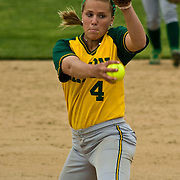 05/07/2010 Newark DE: George Mason Softball Pitcher Becky Anderson #4 during a softball game at Delaware.<br /> <br /> George Mason Softball Sweeps Doubleheader From Blue Hens, 5-0 and 5-4, In game one The Fighten Blue Hens defense couldn't keep up with George Mason. However George Mason defense was magnificent helping to blank the blue hens 5-0.