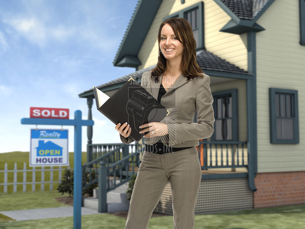 "Professional female real estate agent standing in front of a home with a ""sold"" sign in the front lawn"