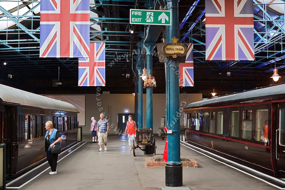Tourists are visiting The National Railway Museum in York, Yorkshire, England, United Kingdom.