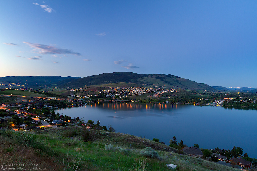 Evening view of Vernon and Coldstream looking over Kalamalka Lake in Vernon, British Columbia, Canada