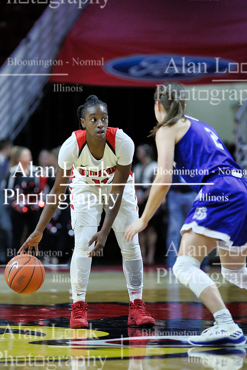NORMAL, IL - January 06: Te Te Maggett guarded at half court by Maddie Monahan during a college women's basketball game between the ISU Redbirds and the Drake Bulldogs on January 06 2019 at Redbird Arena in Normal, IL. (Photo by Alan Look)