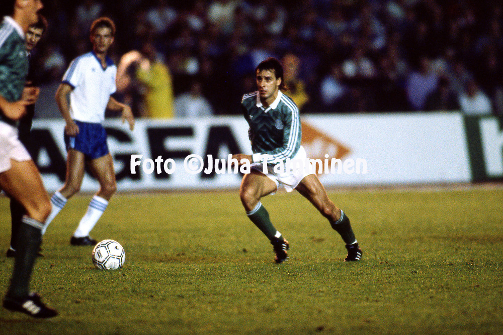 31.8.1988, Olympiastadion / Olympic Stadium, Helsinki.<br /> FIFA World Cup Qualifying match Finland v West-Germany.<br /> Pierre Littbarski - West-Germany