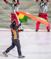 PYEONGCHANG-GUN, SOUTH KOREA - FEBRUARY 09: Vlaggendrager Akwasi Frimpong GHA at Opening Ceremony of the PyeongChang 2018 Winter Olympic Games at PyeongChang Olympic Stadium on February 9, 2018 in Pyeongchang-gun, South Korea. Photo by Ronald Hoogendoorn / Sportida