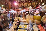 Parma. A typical delicatessen with Parma Ham, Parmigiano cheese, pasta & co.