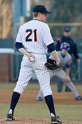 Virginia Cavaliers pitcher/firstbaseman Sean Doolittle (21) on the mound against Delaware.  The Virginia Cavaliers Baseball Team defeated the Delaware Blue Hens 11-2 in the first of a three game series at Davenport Field in Charlottesville, VA on March 2, 2007.