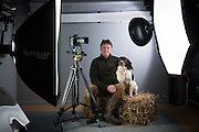 Darlington photographer TERENCE LAHANEY. Falklands veteran. With his dog Diesel