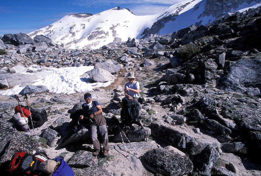 Resting at the top of Aasgard Pass, Enchantment Lakes plateau behind.