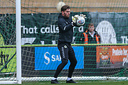 Forest Green Rovers goalkeeper James Montgomery warming up during the EFL Trophy match between Forest Green Rovers and Cheltenham Town at the New Lawn, Forest Green, United Kingdom on 4 September 2018.
