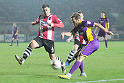 Lloyd James and James Dayton during the EFL Sky Bet League 2 match between Exeter City and Cheltenham Town at St James' Park, Exeter, England on 14 March 2017. Photo by Antony Thompson.