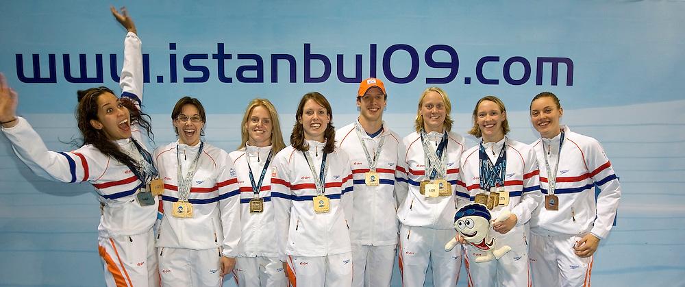 The Netherlands medalist (L-R) Ranomi KROMOWIDJOJO, Saskia DE JONGE, Chantal GROOT, Moniek NIJHUIS, Robin VAN AGGELE, Inge DEKKER, Hinkelien SCHREUDER and Femke HEEMSKERK pose with their medals at the 13th European Short Course Swimming Championships in Istanbul, Turkey, Sunday, Dec. 13, 2009. (Photo by Patrick B. Kraemer / MAGICPBK)