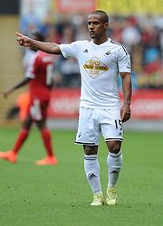 Swansea City's Wayne Routledge in action. - Photo mandatory by-line: Alex James/JMP - Mobile: 07966 386802 30/08/2014 - SPORT - FOOTBALL - Swansea - Liberty Stadium - Swansea City v West Brom - Barclays Premier League
