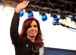 Argentina's President Cristina Fernandez waves during the commemoration ceremony of the 31st anniversary of the Malvinas (Falklands) War at the Monument to the Fallen in Malvinas Square in Madryn Port, province of Chubut, Argentina, on April 2, 2013. Photo by Imago / i-Images...UK ONLY..