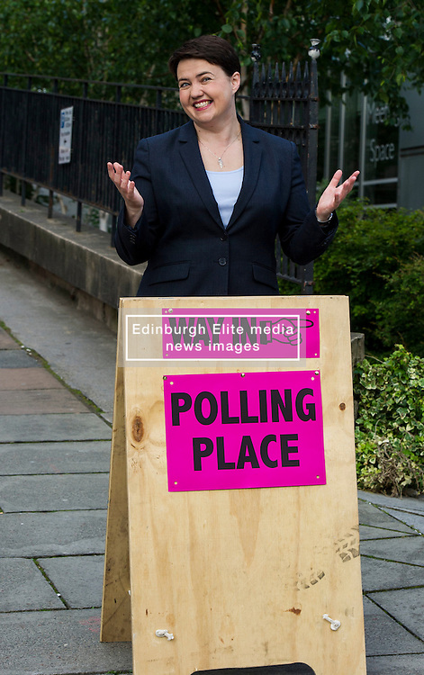 Pictured: Ruth Davidson<br /> <br /> Scottish conservative leader Ruth Davidson cast her vote  in the EU Referendum early today which will decide whether Britain should leave or reman in the EU.<br /> <br /> <br /> <br /> Ger Harley   EEm 23 June 2016