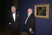 David Hockney and Sir Peter Blake. Dinner at the opening of Degas, Sickert and Toulouse-Lautrec. Tate Britain. Pimlico, London.  London. 3 October 2005. . ONE TIME USE ONLY - DO NOT ARCHIVE © Copyright Photograph by Dafydd Jones 66 Stockwell Park Rd. London SW9 0DA Tel 020 7733 0108 www.dafjones.com