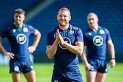 Finn Russell is all smiles during the Scotland Rugby training run ahead of their match against France at BT Murrayfield Stadium, Edinburgh, Scotland on 23 August 2019.