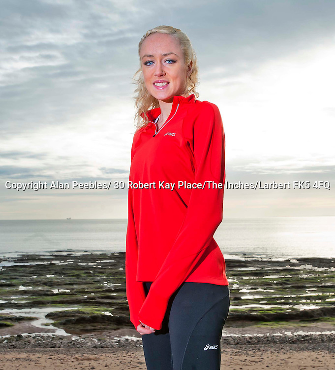 Eilish McColgan fashion shoot and training on Carnoustie beach photographed by Alan Peebles