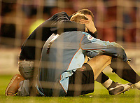 Photo. Glyn Thomas, Digitalsport<br /> NORWAY ONLY<br /> <br /> Sunderland v Crystal Palace. <br /> Division 1 Playoffs, second leg. 17/05/2004.<br /> A disconsolate Sunderland keeper Mart Poom is consoled by a fan after coming so close to putting his side in the final.