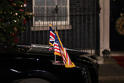 London, UK. 3 December, 2019. The Beast is parked outside 10 Downing Street to pick up President Trump and his wife Melania following a reception for NATO leaders on the eve of the military alliance's 70th anniversary summit at a luxury hotel near Watford.