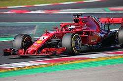 March 6, 2018 - Barcelona, Catalonia, Spain - the Ferrari of Sebastian Vettel during the Formula 1 tests at the Barcelona-Catalunya Circuit, on 06th March 2018 in Barcelona, Spain. (Credit Image: © Joan Valls/NurPhoto via ZUMA Press)