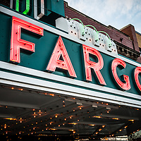 Picture of Fargo Theatre sign in North Dakota.  The Fargo Theatre was built in 1926 and is on the National Register of Historic Places. The Fargo Theatre is currently a popular venue for films, movies, concerts, plays and other live events. Photo is was taken in 2011.