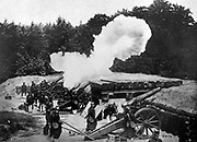 A Belgian heavy artillery battery in actiion, guns firing from behind a screen of trees, c1914.