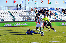 October 9, 2017 - Nabeul, Tunisia - Diane Amara(11) of Ivory coast and goalkeeper  Mustfin Zhssulanof (1) of Kazakhstan in action during the second day of the group stage of the WMF World of Mini Foot 2017, played in Nabeul (60km south of Tunis) between Kazakhstan and the Ivory coast. (Credit Image: © Chokri Mahjoub via ZUMA Wire)